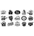 cooking lettering badges kitchen gourmet recipes vector image