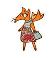 cute fox in design dress vector image