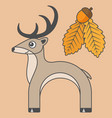 deer cartoon style art for kids vector image