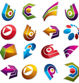 Dimensional app buttons Collection of arrows vector image vector image