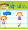 Flashcard letter G is for girl vector image vector image