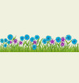 flowers of different colors in one row vector image vector image