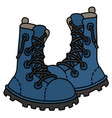 funny blue leather high lacing shoes vector image vector image