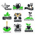 gardening service and garden plants logo templates vector image vector image