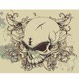 grunge floral and skull vector image vector image