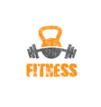 grunge kettlebell and barbell design template vector image vector image