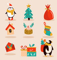 holiday set with cute christmas characters vector image
