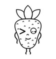 line kawaii cute funny strawberry fruit vector image vector image