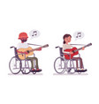 male and female young wheelchair user playing vector image