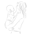 Mother and her baby sketch vector image