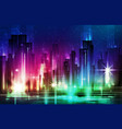 night scene of city with vector image vector image