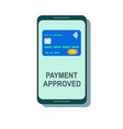 payment completed message on a mobile phone screen vector image vector image