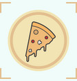 pizza slice on plate color icon vector image
