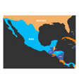 political map of central america and mexico in vector image vector image