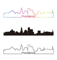 Providence skyline linear style with rainbow vector image