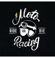 Retro racer helmet and motoracing hand written vector image vector image