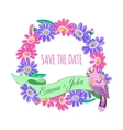 Save the date hand drawn floral wreath with ribbon vector image