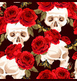 seamless skulls and roses vector image
