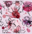 seamless watercolor pattern with sketch of flowers vector image vector image