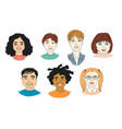 set kids diversity head portraits line drawing vector image