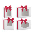 set of empty gift boxes with red silk bows vector image vector image