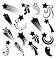 set shooting stars collection stylized vector image