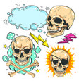 set skull comic style colorful icons vector image vector image