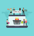 shopping people on laptop online website vector image