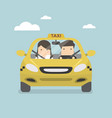 taxi car and taxi driver with passenger vector image