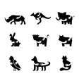 various animals negative space icons set african vector image