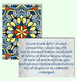vintage leaflets with mandala pattern on pale vector image