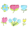 Watercolor flowers set cute design elements vector image vector image