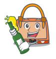 with beer hand bag mascot cartoon vector image vector image