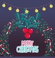 wreath berries candy cane lights merry christmas vector image