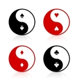 Yin-Yang symbols with card suits vector image