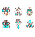 cute kawaii emoticons with baby boy objects vector image