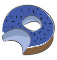 a blue donut with bitemark on white background vector image vector image