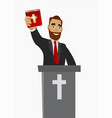 a christian priest gave a sermon in a church in vector image