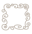 a hand drawn brown line frame in zentangle style vector image vector image