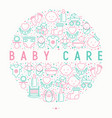 baby care concept in circle with thin line icons vector image vector image