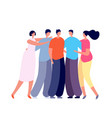 best friends support girls boys hugging isolated vector image