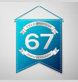 blue pennant with inscription sixty seven years vector image vector image