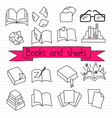 Books scetches icon set vector image vector image