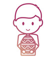 boy with easter egg vector image