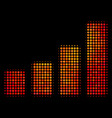 bright dotted bar chart icon vector image vector image