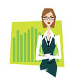 business woman pointing to trends vector image