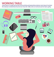 Busy woman taking nap on the working table vector image vector image