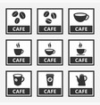 cafe icons and signs with coffee beans and cups vector image vector image