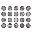 car wheel rims automobile vehicle rubber wheel vector image
