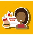 child cartoon girl fast food vector image